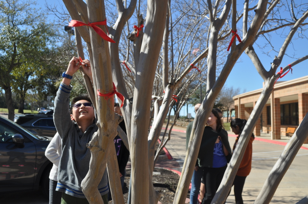 Students who took Celebrating Chinese New Year went outside to tie red ribbons on trees as they made wishes. Photo by Hannah Lu