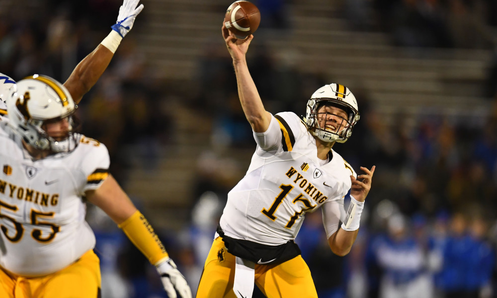 Nov 11, 2017; Colorado Springs, CO, USA; Wyoming Cowboys quarterback Josh Allen (17) attempts a pass in the first quarter against the Air Force Falcons at Falcon Stadium. Mandatory Credit: Ron Chenoy-USA TODAY Sports
