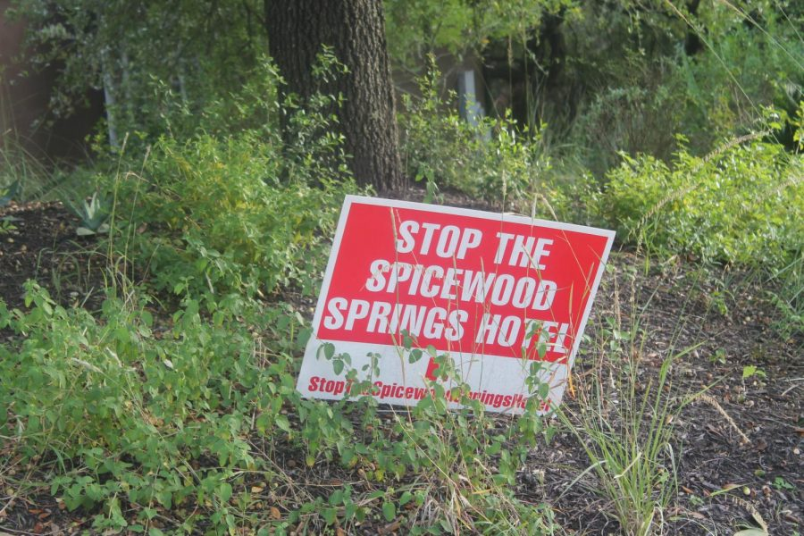 Many+people+have+these+red+signs+in+protest+of+the+Spicewood+Springs+Hotel.+You+may+have+seen+them+last+year+put+up+near+the+school.+