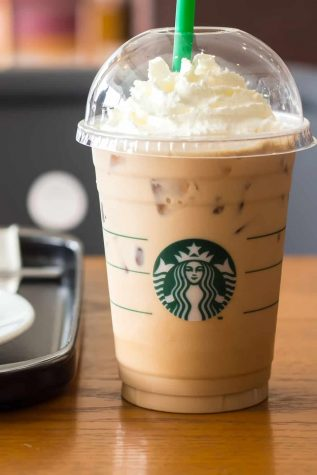 Starbucks signature espresso meets white chocolate syrup and steamed milk, to create the White Chocolate Mocha.  This sweet chocolatey drink tastes great hot or cold.